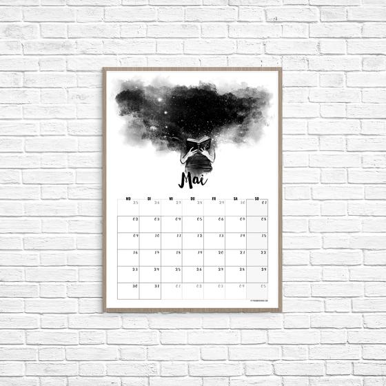 Kalenderblatt Mai - Lesen, reisen, Welten. // Illustration/Kalendarium © fieberherz.de