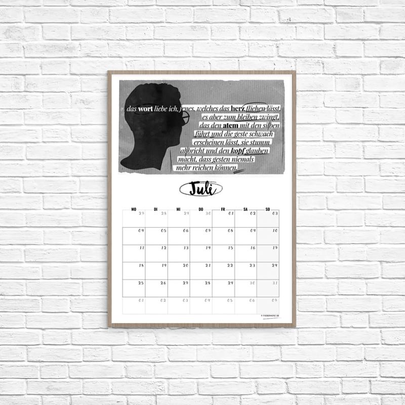 Kalenderblatt Juli - das wort liebe ich... // Text/Illustration/Kalendarium © fieberherz.de