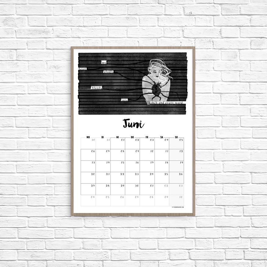 Kalenderblatt Juni - my heart gladly bleeds into each and every word // Text/Illustration/Kalendarium © fieberherz.de