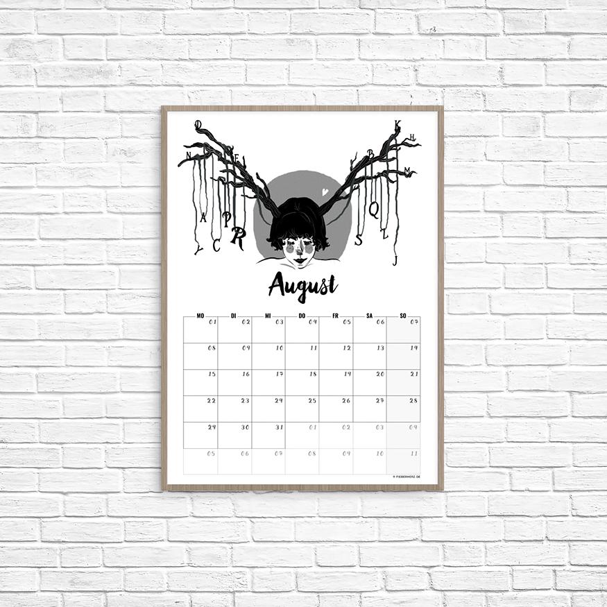 Kalenderblatt August // Illustration/Kalendarium © fieberherz.de